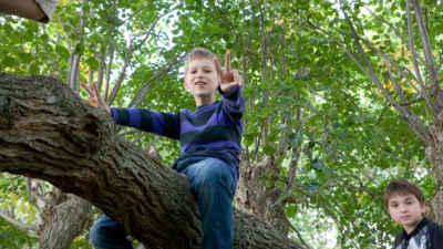 Kind sitz im Baum: Peace!