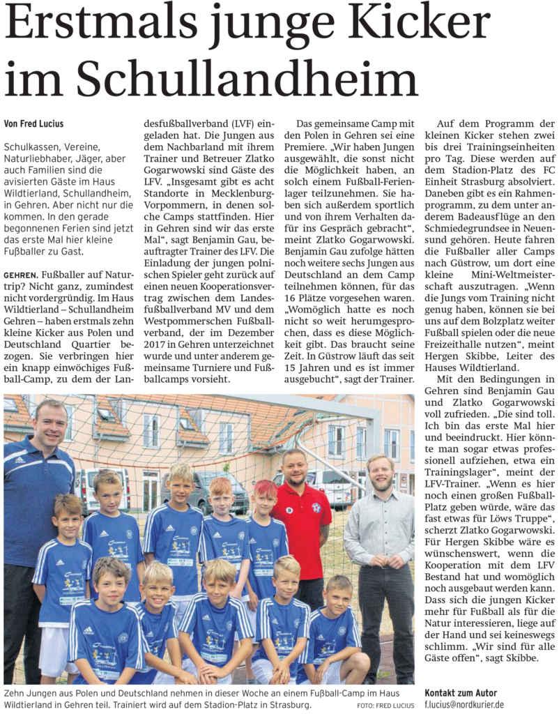 Zeitungsartikel: Junge Kicker im Schullandheim